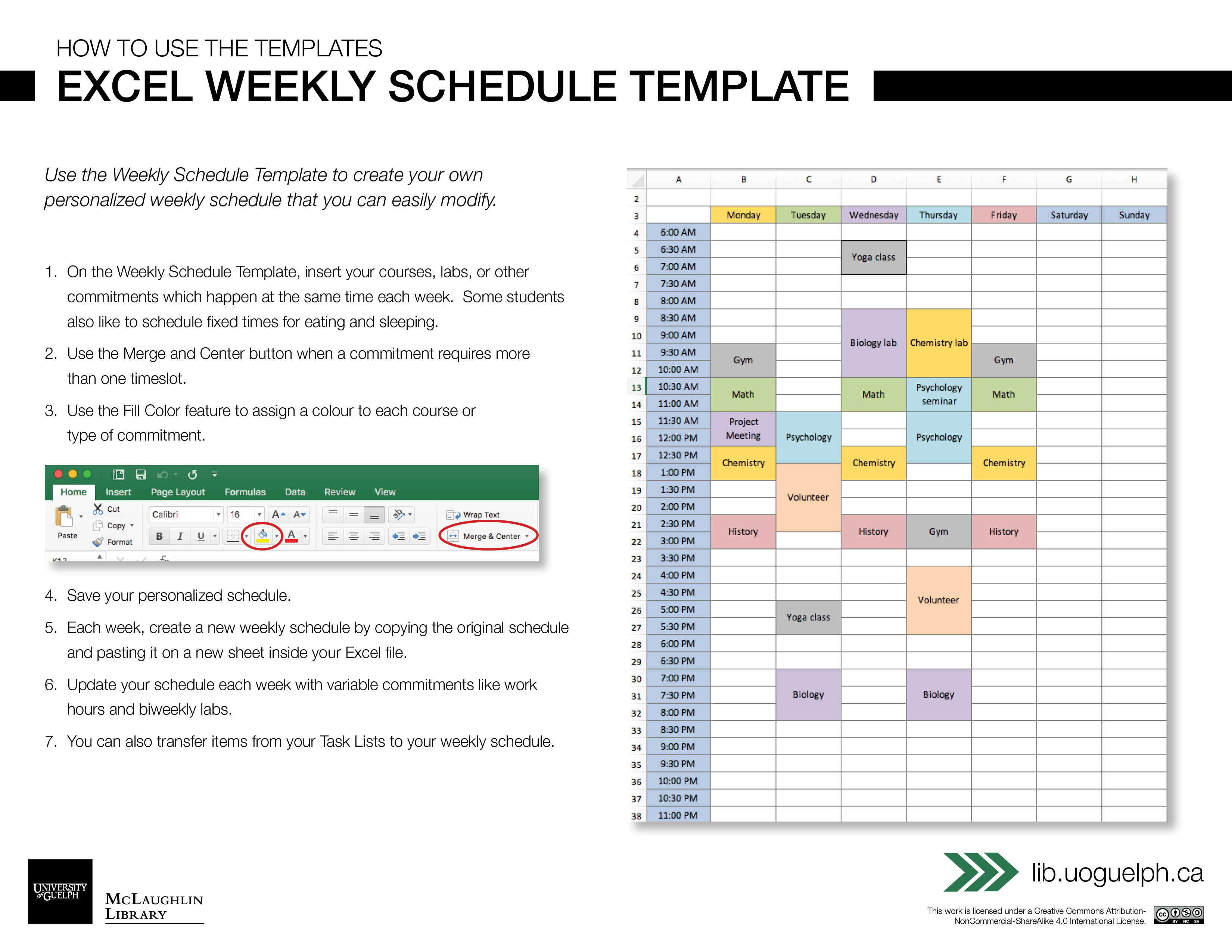 Excel Weekly Schedule Template Digital Learning Commons