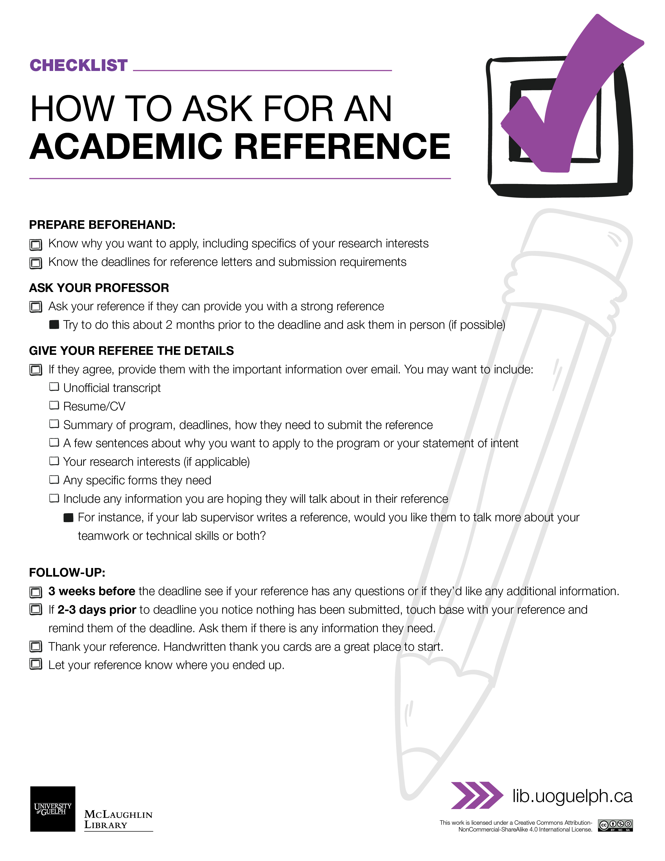 Handout: How to ask for an Academic Reference. See transcript below.