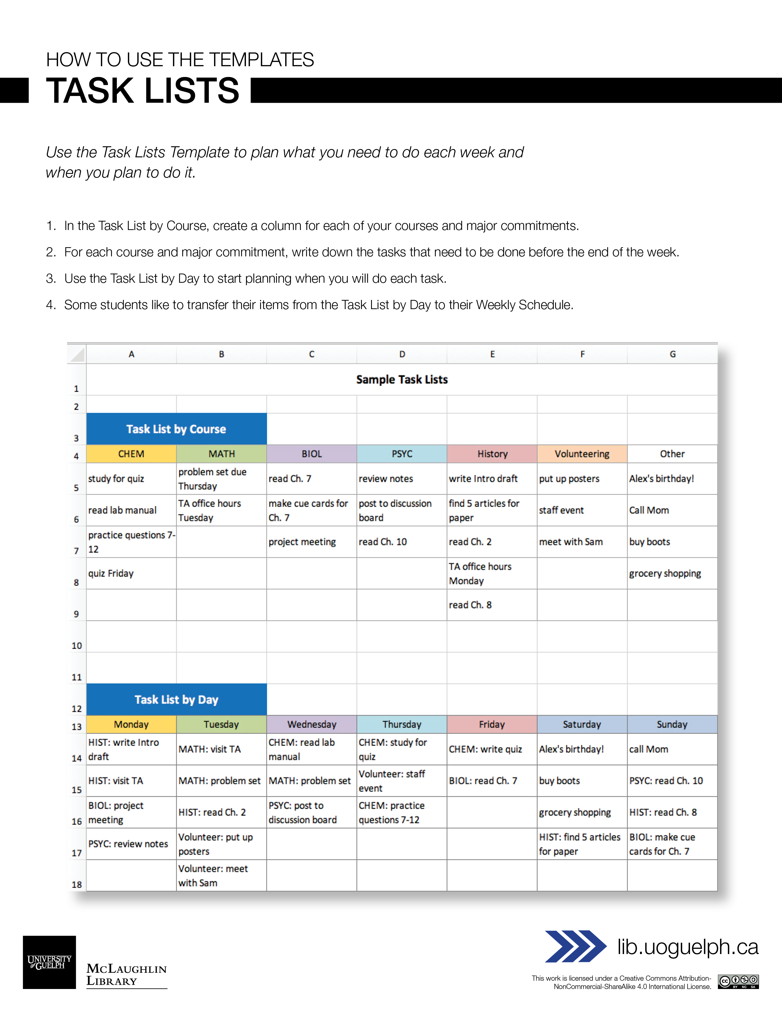 Handout: Excel Task Lists