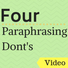 Video: Four Paraphrasing Don'ts