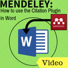 Mendeley: How to use the Citation Plugin in Word